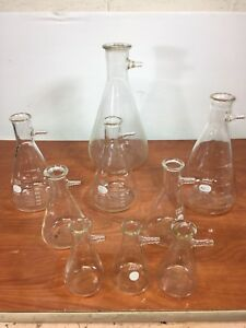 Lot Of 9 Erlenmeyer Side Arm Filter Flask 4000 2000 1000 500 250 Ml Pyrex