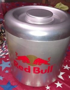 Red Bull Huge Aluminum Ice Bucket With Blue Insert Included