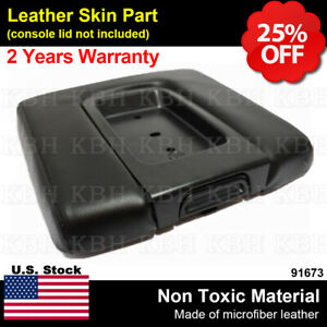 Fits 14 18 Chevy Silverado Sierra Black Leather Wide Console Lid Armrest Cover