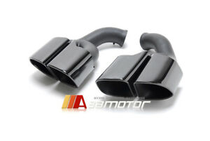 Square Tip Muffler Black Exhaust Tail Pipe Stainless For 15 17 Porsche Cayenne