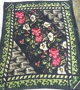 Antique Chase Amish Blanket Horse Buggy Sleigh Lap Floral Print Mohair 48 X60