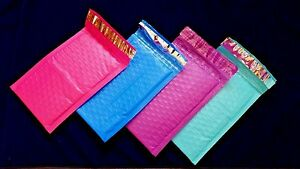 Lot Of 600 Pink Purple Blue Teal Brand New 000 4x8 Color Poly Bubble Mailers