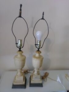 Pair Of Antique Marble Lamps