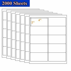 20000 Labels 2 X 4 Blank Postage Self Adhesive Shipping Label 10 Up 2000 Sheet