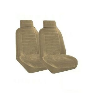 Set Of 2 Universal Fit Low Back Encore Pattern Front Bucket Seat Cover Sand