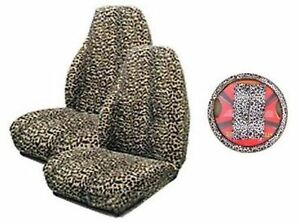Tan Cheetah 5 piece Highback Seat Covers Steering Wheel Cover Shoulder Be