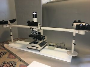 Olympus Bh2 Bhs Teaching Microscope With 5 Heads And 5 Objectives
