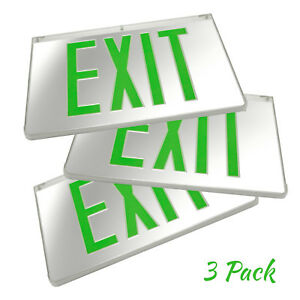 3pack Mirrored Green Led Exit Sign Indoor Emergency Fixtures Fire Lights Panel