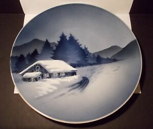 Antique Boch Freres Keramis Decorative Plate Winter Cabin Scene Belgium