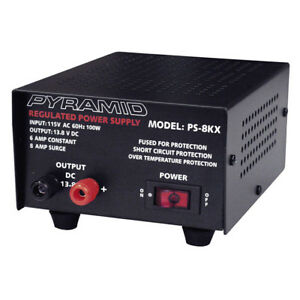 Pyramid Bench Power Supply ac to dc Power Converter 6 0 Amp Power Supply ps8kx