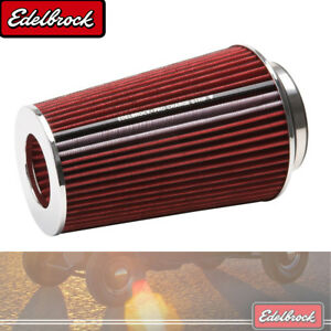Pro Flo Universal Red Tall Conical Air Filter W 3 3 5 4 Inlet Edelbrock 43691