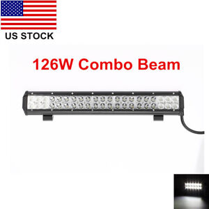 20inch 126w Cree Led Work Light Bar Flood Spot Offroad Truck Fog Driving Suv Ute