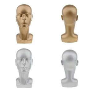 2pcs Glossy Pvc Plastic Male Display Mannequin Manikin Head Dummy Wig Stand