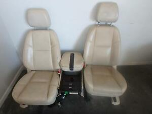 2007 2014 Cadillac Escalade Front Seat Console Tan Leather Power Heat Dvd