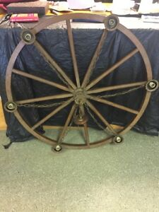 True Antique Wagon Wheel Chandelier Wood Copper 50 Huge Gorgeous Solid