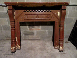 Antique Carved Walnut Fireplace Mantel 60 X 48 Architectural Salvage
