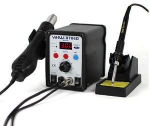 750w 220v 2 In 1 Soldering Solder Station Smd Rework Iron With Hot Air Gun 8786d