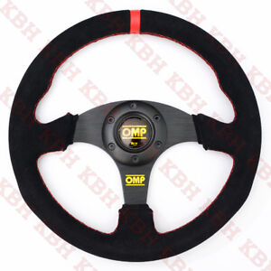 330mm 3 Spoke Flat Black Suede Leather Steering Wheel Omp 13 Red Stitch