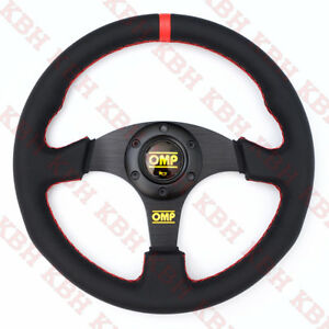 330mm 3 Spoke Flat Black Pu Leather Racing Steering Wheel Omp 13 Red Stitch