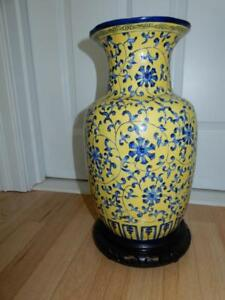 Antique Chinese Qianlong Porcelain Yellow Ground Blue Lotus Vase Drilled 35cm