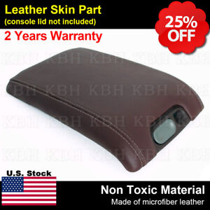 Fits 09 14 Ford F150 Raptor Center Console Lid Leather Armrest Cover Brown