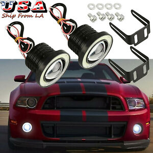 2pcs 2 5 Cob Led Projector Angel Eye Halo Ring Fog Lamp White Drl Driving Bulb