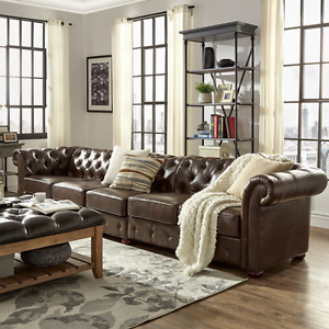 141 l Large Restoration Chesterfield Tufted Brown Faux Leather Sofa