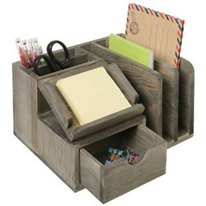 Mygift Rustic Gray Wood Desktop Office Organizer W Sticky Note Pad Holder Mail