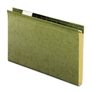 Reinforced 1 Extra Capacity Hanging Folders Legal Standard Green 25 box