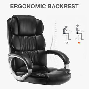 Pu Leather High Back Office Chair Executive Task Ergonomic Computer Desk 09
