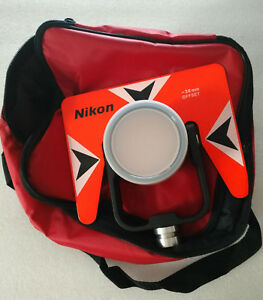 New Red Metal Single Prism With Soft Bag For Nikon Total Station Stations