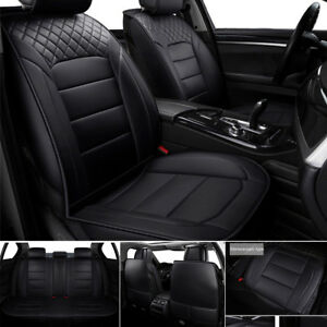 5 seats Car Seat Cover Pu Leather Front Rear Full Interior Set Easy To Install