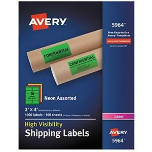 High visibility Shipping Labels Neon For Laser Printers 2 X 4 Assorted Box Of
