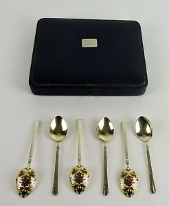 Antique Sterling England 6 Teaspoons By Goldsmiths Silversmiths Co In Case