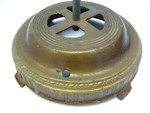 Antique Coat Rack Tree Base Stand Center Pole Metal Cast Iron Ornate Painted Old