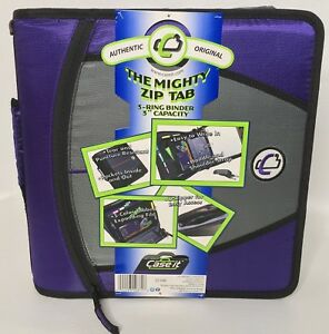 Case It The Mighty Zip Tab 3 ring Zipper Binder Handle Detachable Strap Purple