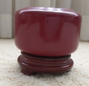 Chinese Oxblood Red Porcelain Brush Washer W Wood Stand