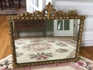 Antique Victorian Gold Gilt Wood Gesso Wall Mirror Floral