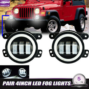 2x 4inch Led Fog Light Drl Front Hidden Lamp For Jeep Wrangler
