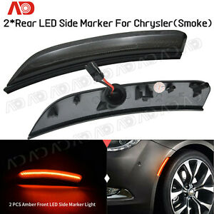 For 2015 2016 2017 Chrysler 200 Smoked Led Side Marker Light Fender Marker Lamp