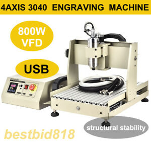 Usb Port Engraver 4 Axis Cnc Router Kit 3040 Drilling Milling Machine 800w Vfd