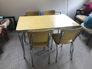 Vintage 1950s Formica Chrome Kitchen Table W 4 Chairs