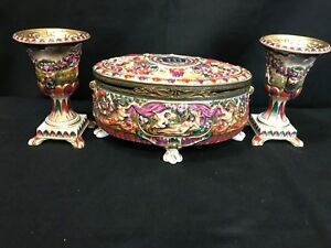 Capodimonte Hinged Trinket Jewelry Box W Claw Feet 2 Chalices Beautiful