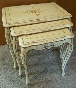 Antique Country French Provincial Tole Hand Painted Set 3 Nesting Side Tables