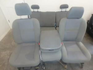03 06 Dodge 2500 3500 Front Rear Seat Console Grey Cloth Power Oem