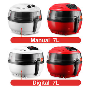 7 4 Qt White red Digital Electric Air Fryer Oil less Griller Calorie Reducer