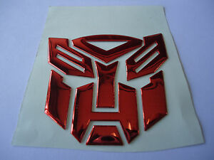 Car 3d Transformers Autobots Fender Badge Tank Decal Sticker Plating Sexy Red