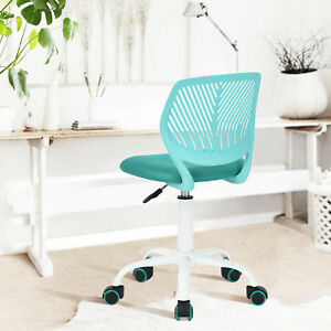 Office Task Desk Chair Adjustable Mid Back Home Children Study Chair Turquoise