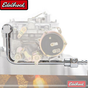 Edelbrock Chrome Steel Fuel Line W 3 8 Barbed End Inlet Without Fuel Filter