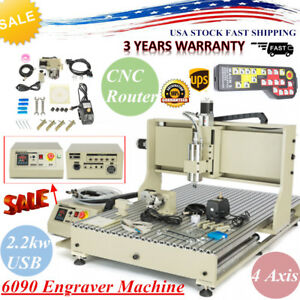 4axis 6090 Cnc Router 2 2kw Usb Port Engraver Metal Drilling Machine